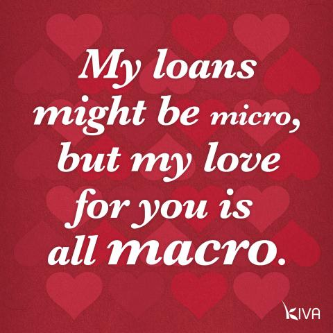 My loans might be micro, but my love for you is all macro